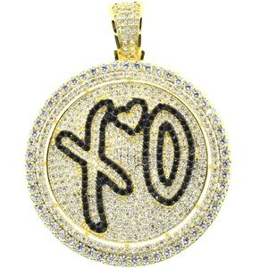 Other - #XO Heart Rapper Iced Out Spinner Pendant w/ Chain